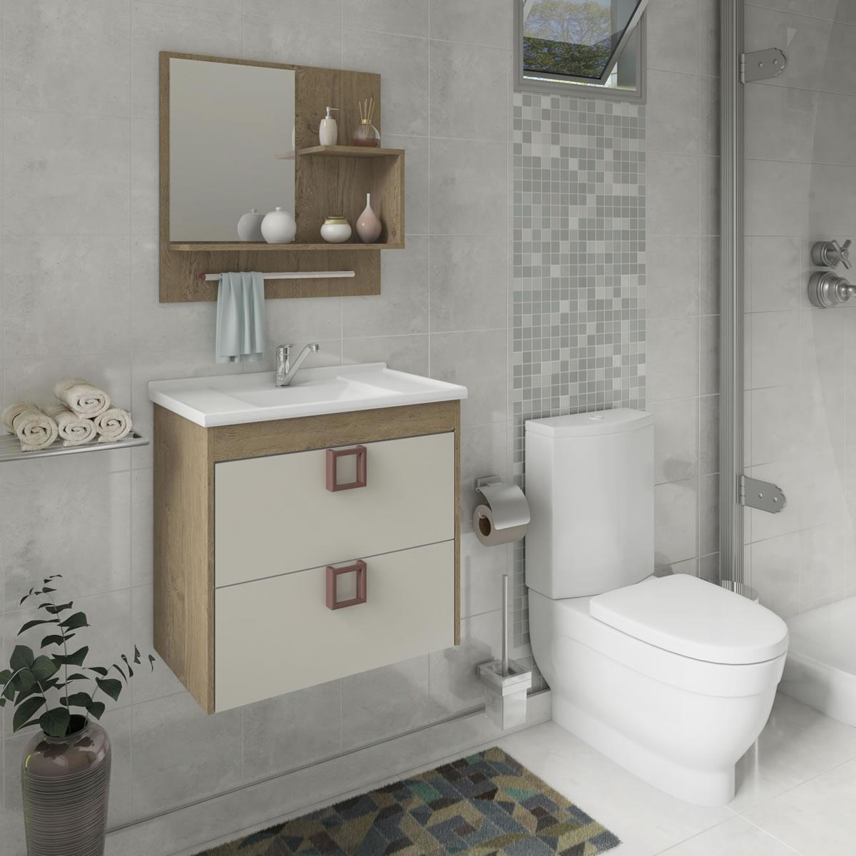 Gabinete De Banheiro 100% Mdf Lirio 59 Cm Com Espelho Carvalho/Off White - Mgm