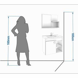 Gabinete De Banheiro 100% Mdf Lotus 55 Cm Com Espelho Branco/Preto - Mgm
