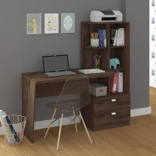 Escrivaninha/Mesa para Computador Com Estante Elisa Café - Permobili