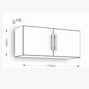 Armario De Cozinha Aereo 100% Mdf Flex 114 Cm Amendoa/Branco - Mgm
