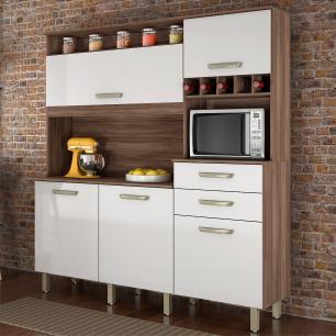 Cozinha Compacta Smart Nogal/Branco - Nesher