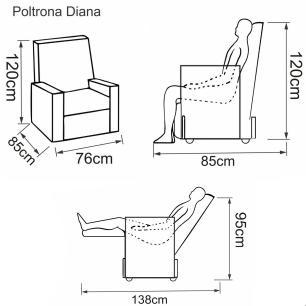 Poltrona Reclinável Diana - Tecido Polipropileno Cinza Fuligem 1881 - Delare