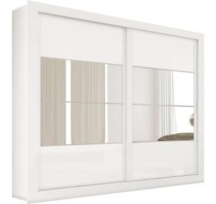 Roupeiro Ipanema 2 Portas 100% MDF Com 4 Espelhos - Branco  - Docelar