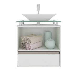 Gabinete De Banheiro 100% Mdf Faro 60 Cm Sobrepor Amendoa/Branco - Mgm