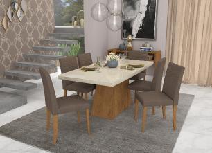Sala Jantar Helen 180cm x 90cm 6 Cad. Marina Madeira - Savana/Off White/Chocolate - Cimol