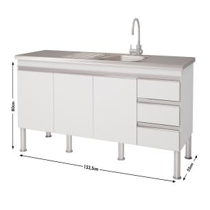 Balcao De Cozinha 100% Mdf Ibiza Para Pia 154 cm - Branco/Preto - Mgm