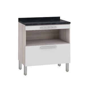 Balcão de cozinha Class 1 Porta 80cm e Mesa Gourmet - Branco/Amadeirado - Nesher