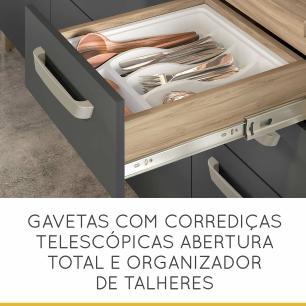 Balcão de Cozinha Condessa 2 Portas 3 Gavetas 120 cm - Cedro/Grafite - Nesher