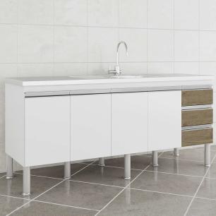 Balcao De Cozinha 100% Mdf Ibiza Para Pia 174 Cm Branco/Carvalho - Mgm