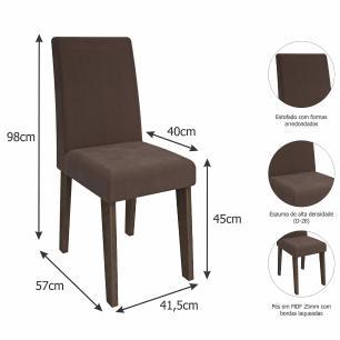 Sala Jantar Alana 95cm x 95cm Com 4 Cadeiras Milena Marrocos/Preto/Chocolate - Cimol