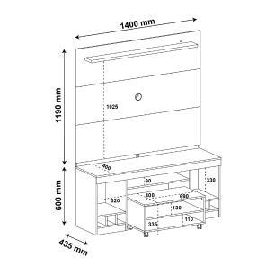 Rack com Painel e Mesa de Centro System - Canela - Artely