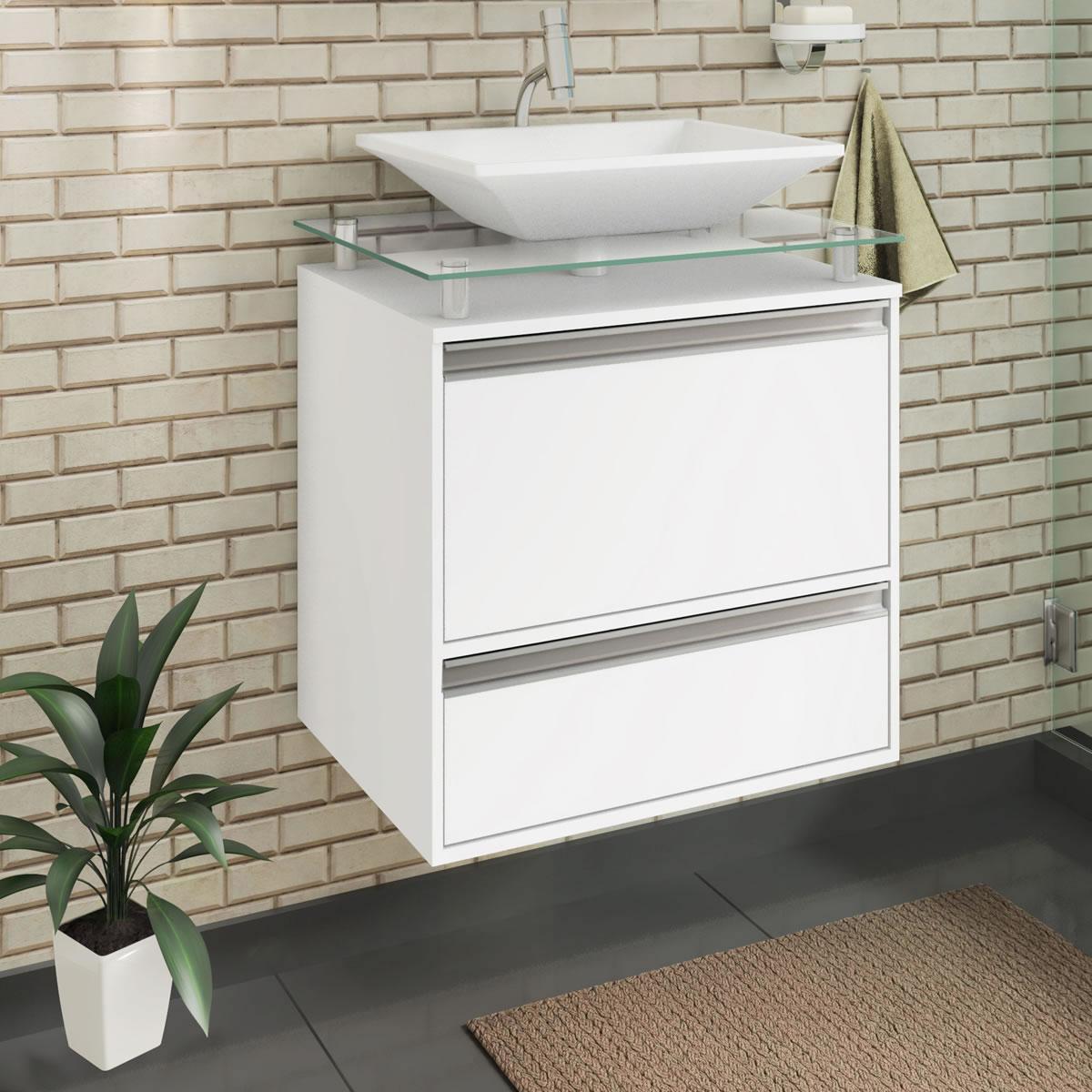 Gabinete De Banheiro 100% Mdf Faro 60 Cm Sobrepor Branco - Mgm