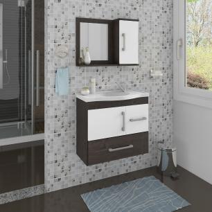 Gabinete De Banheiro 100% Mdf Fortaleza 65 Cm Com Espelho Cafe/Branco - Mgm