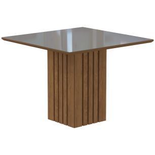 Sala Jantar Ana 95cm x 95cm 4 Cad. Milena Moldura - Savana/Off White/Cacau - Cimol