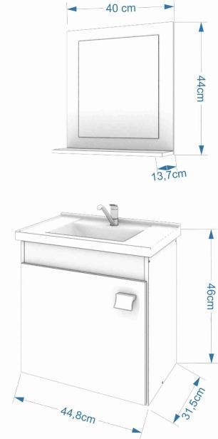 Gabinete De Banheiro 100% Mdf Iris 44 Cm Com Espelho Carvalho/Off White - Mgm