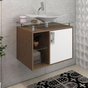 Gabinete De Banheiro 100% Mdf Lagos 60 Cm Sobrepor Amendoa/Branco - Mgm
