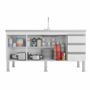 Balcao De Cozinha 100% Mdf Ibiza Para Pia 154 Cm Amendoa/Off White - Mgm