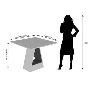 Mesa Alana 95cm x 95cm - Branco/Savana - Cimol