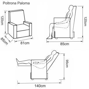 Poltrona Reclinável Paloma - Tecido Polipropileno Cinza Fuligem 1881 - Delare