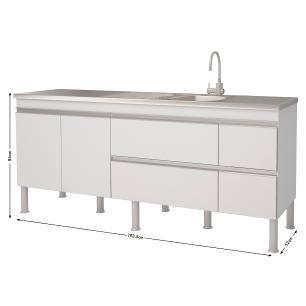Balcao De Cozinha 100% Mdf Prisma Para Pia 194 cm - Branco/Preto - Mgm