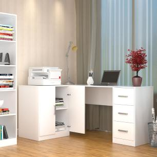 Mesa escritório em L 3 Gavetas e Armário - Branco - Appunto