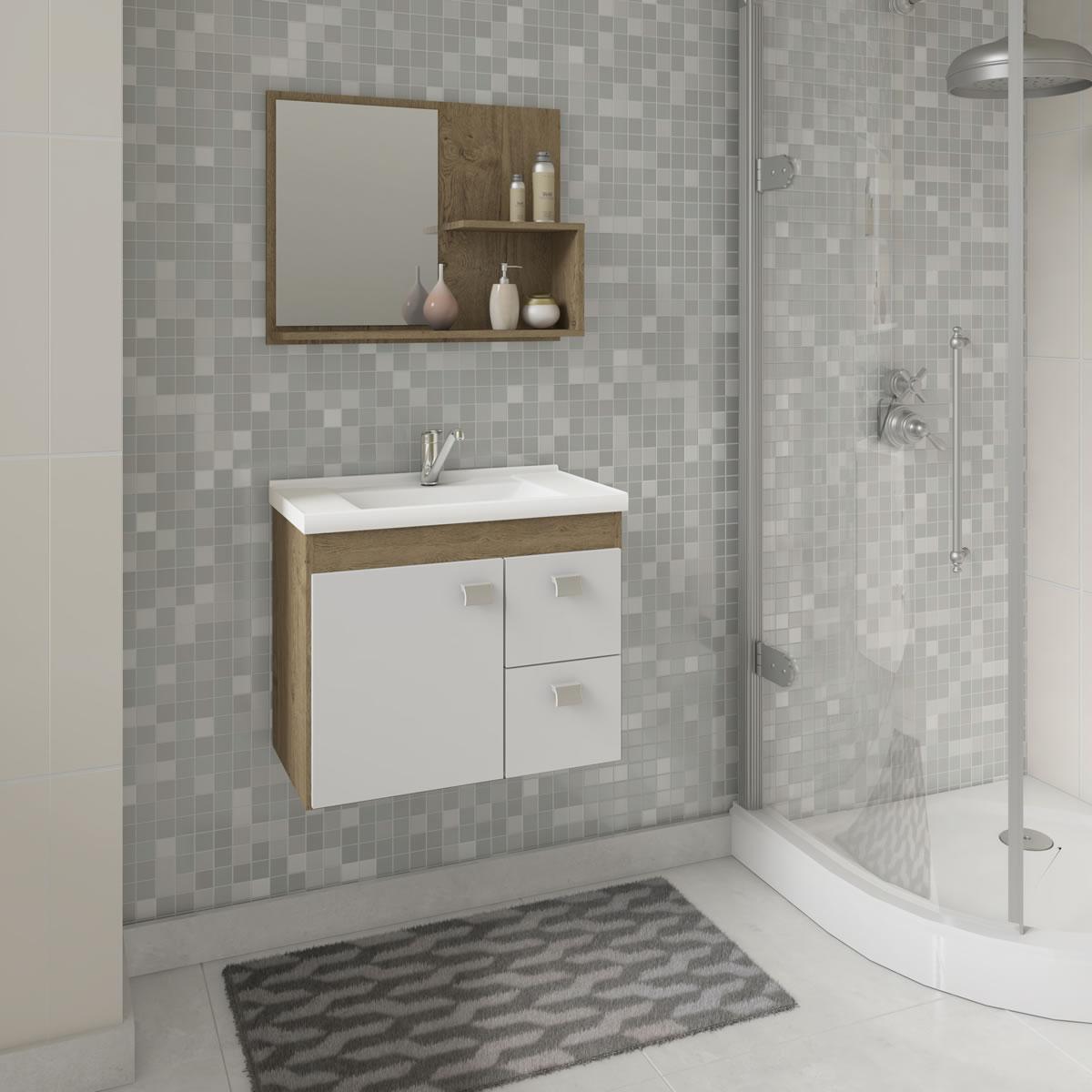Gabinete De Banheiro 100% Mdf Hortencia 55 Cm Com Espelho Carvalho/Branco - Mgm