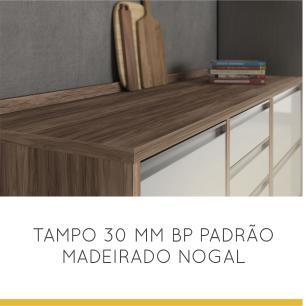 Balcão de cozinha 1 Porta 4 Gavetas Nesher Baronesa  120 cm - Branco - Nesher