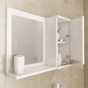 Gabinete De Banheiro 100% Mdf Grecia 65 Cm Com Espelho Amendoa/Branco - Mgm