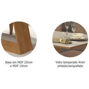 Sala Jantar Alana 130 Cm x 80 Com 4 Cadeiras Milena C/Moldura Savana/Off White/Chocolate - Cimol