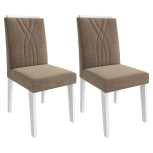 Sala Jantar Rafaela 95cm x 95cm Com 4 Cadeiras Nicole Branco/Savana/Pluma - Cimol