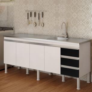 Balcao De Cozinha 100% Mdf Ibiza Para Pia 194 cm - Branco/Preto - Mgm