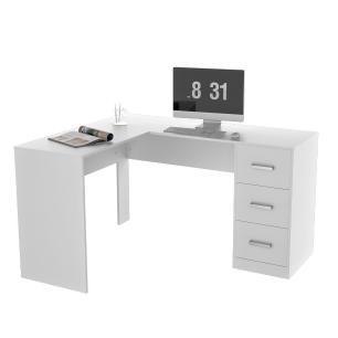 Mesa Para escritório em L Com 3 Gavetas Office Plus - Branco - Appunto
