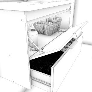 Gabinete De Banheiro 100% Mdf Bromelia 59 Cm Frente Espelho Amendoa - Mgm