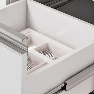 Balcao De Cozinha 100% Mdf Prisma Para Pia 154 Cm Amendoa/Off White - Mgm