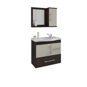 Gabinete De Banheiro 100% Mdf Fortaleza 65 Cm Com Espelho Cafe/Off White - Mgm