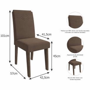 Sala Jantar Ana 95 Cm x 95 Cm Com 4 Cadeiras Tais C/Moldura Marrocos/Preto/Chocolate - Cimol
