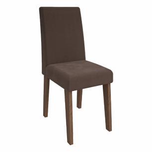 Sala Jantar Alana 95cm x 95cm Com 4 Cadeiras Milena Savana/Off White/Chocolate - Cimol