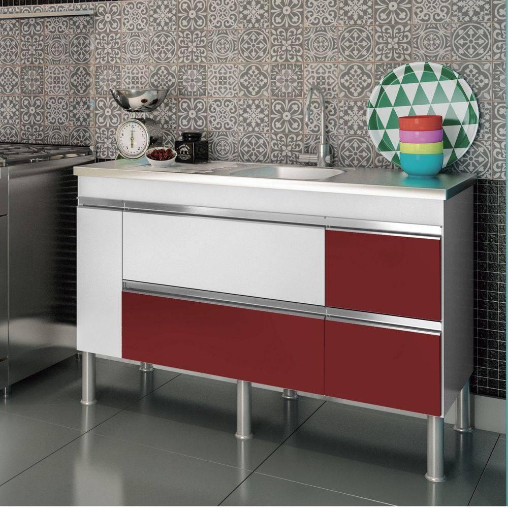 Balcão de cozinha Prisma Para Pia 140 cm - Branco/Vermelho - Mgm