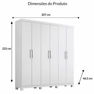 Roupeiro Uni Premium 6 Portas - 100% MDF - Branco - Panan