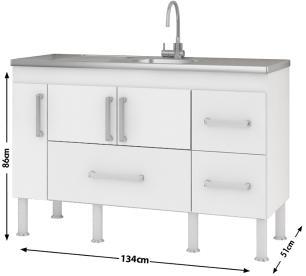 Balcao De Cozinha 100% Mdf Bari Para Pia 140 Cm - Branco/Castanho - Mgm - FORA DE LINHA
