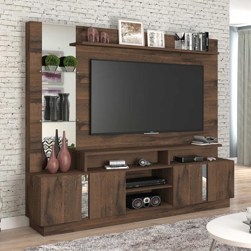 Estante Home 4 Portas Painel para TV até 55 Polegadas com Espelho Munique Cafe - Permobili
