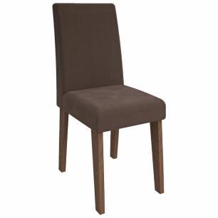 Sala Jantar Andreia 100cm x 100cm Com 4 Cadeiras Milena Savana/Chocolate - Cimol - FORA DE LINHA