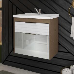 Gabinete De Banheiro 100% Mdf Azaleia 59 Cm Porta Vidro Amendoa/Branco - Mgm