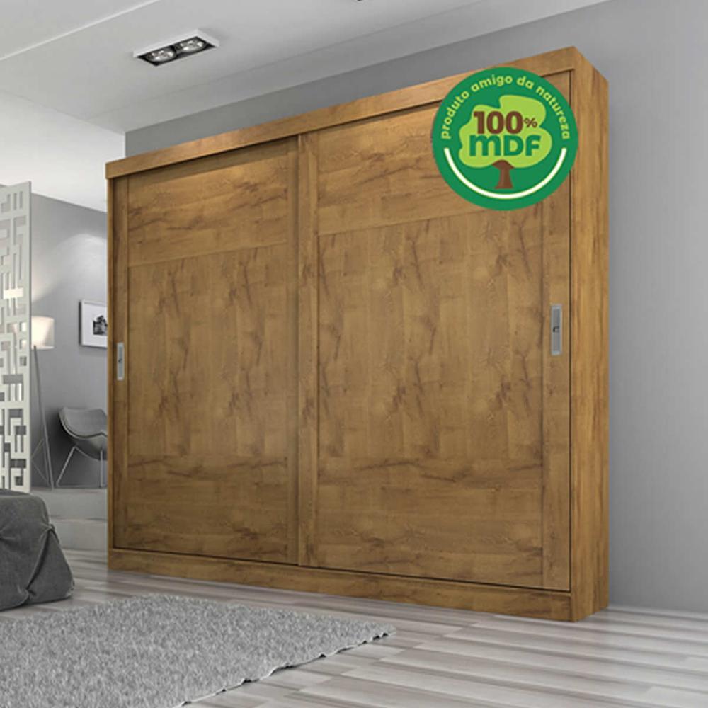 Roupeiro Joinville Slide 2 Portas - 100% MDF - Canela/Canela/Branco - Panan