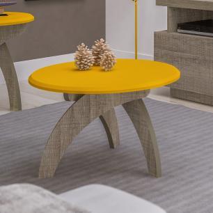 Mesa Centro Jade - Amarelo c/ Canela - Artely