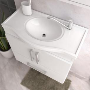 Gabinete De Banheiro 100% Mdf Atenas 65 Cm Com Espelho Cafe/Off White - Mgm