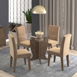 Sala Jantar Luana 100 Cm x 100 Cm Com 4 Cadeiras Milena Marrocos/Pluma - Cimol