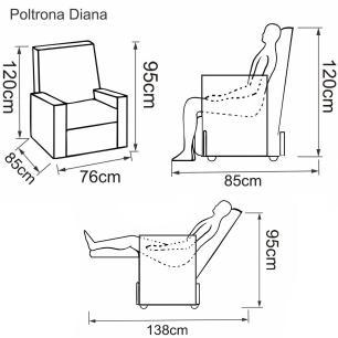 Poltrona Reclinavel Diana Tecido Veludo Austin 1184 - Wenge - Delare