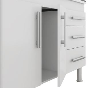 Balcao De Cozinha 100% Mdf Flex 114 Cm Amendoa/Branco - Mgm