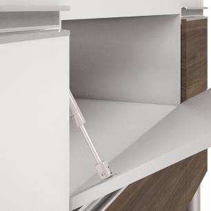 Balcão de cozinha Prisma Para Pia 180 cm - Branco/Castanho - Mgm